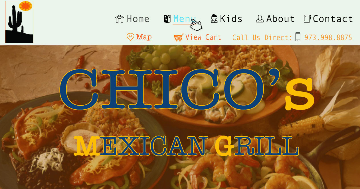 An image of ChicosMG restaurant Photoshop website design