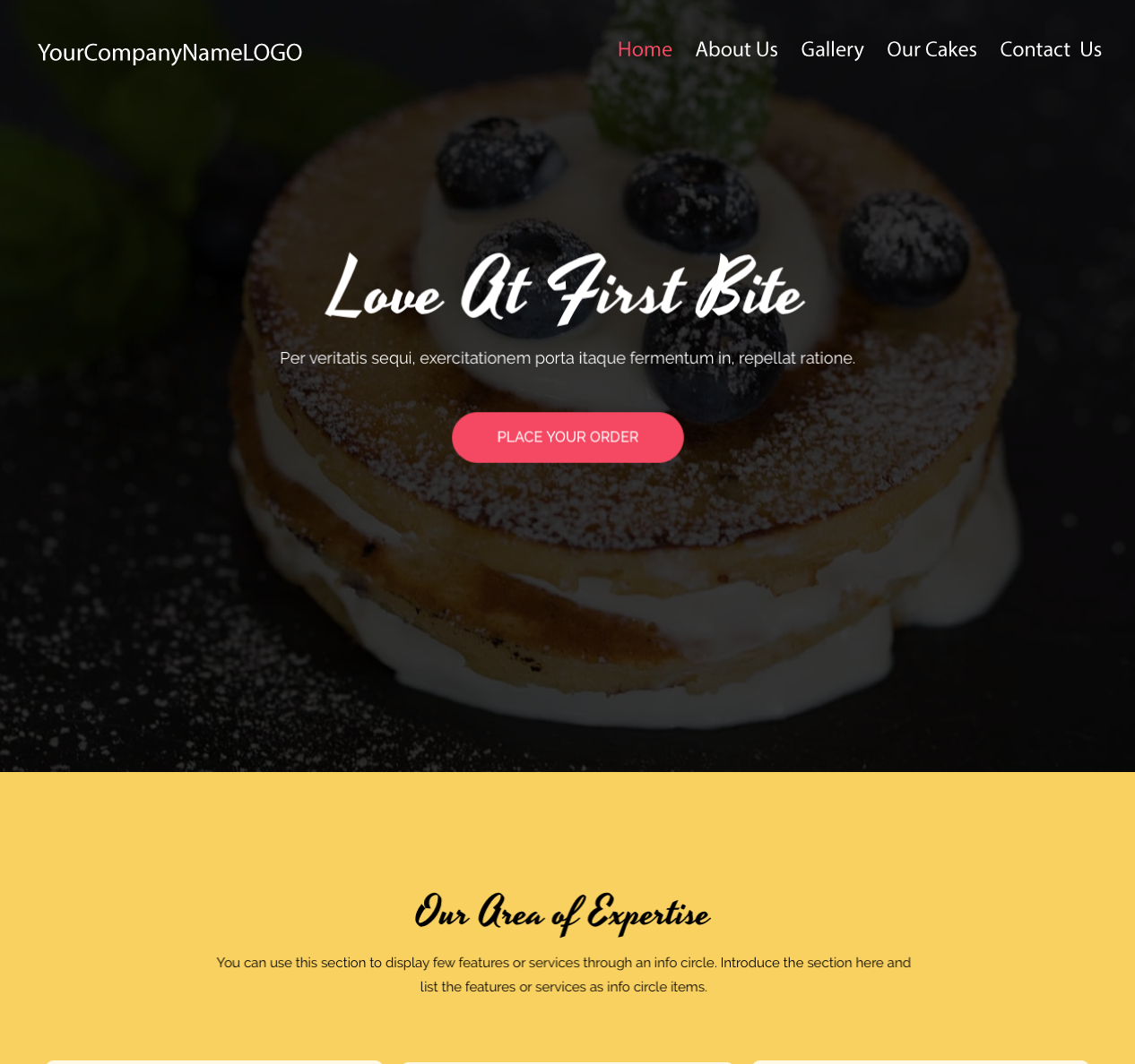 An image of a Bakery Love At First Bite new website design