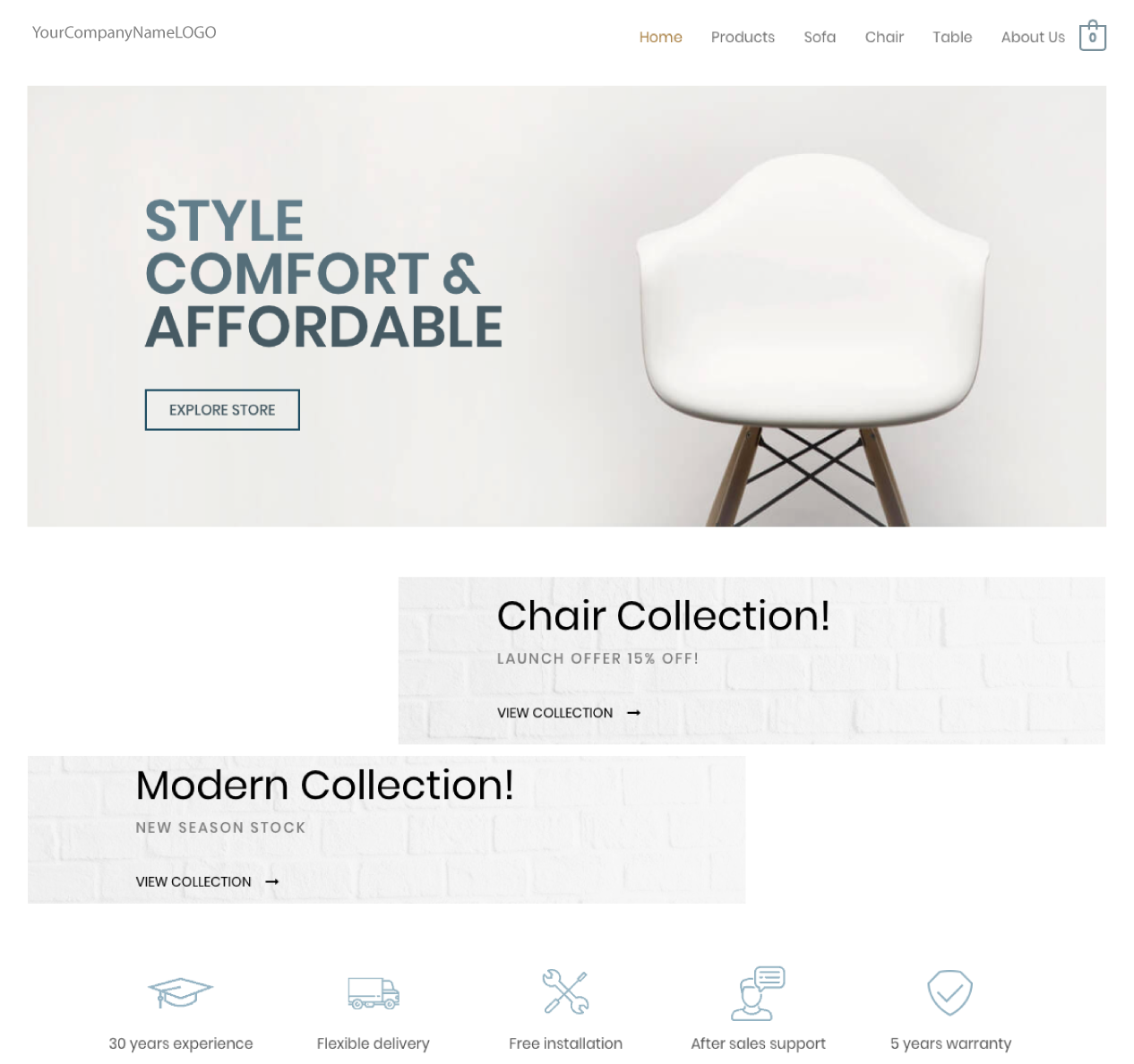 An image of a Furniture new website design