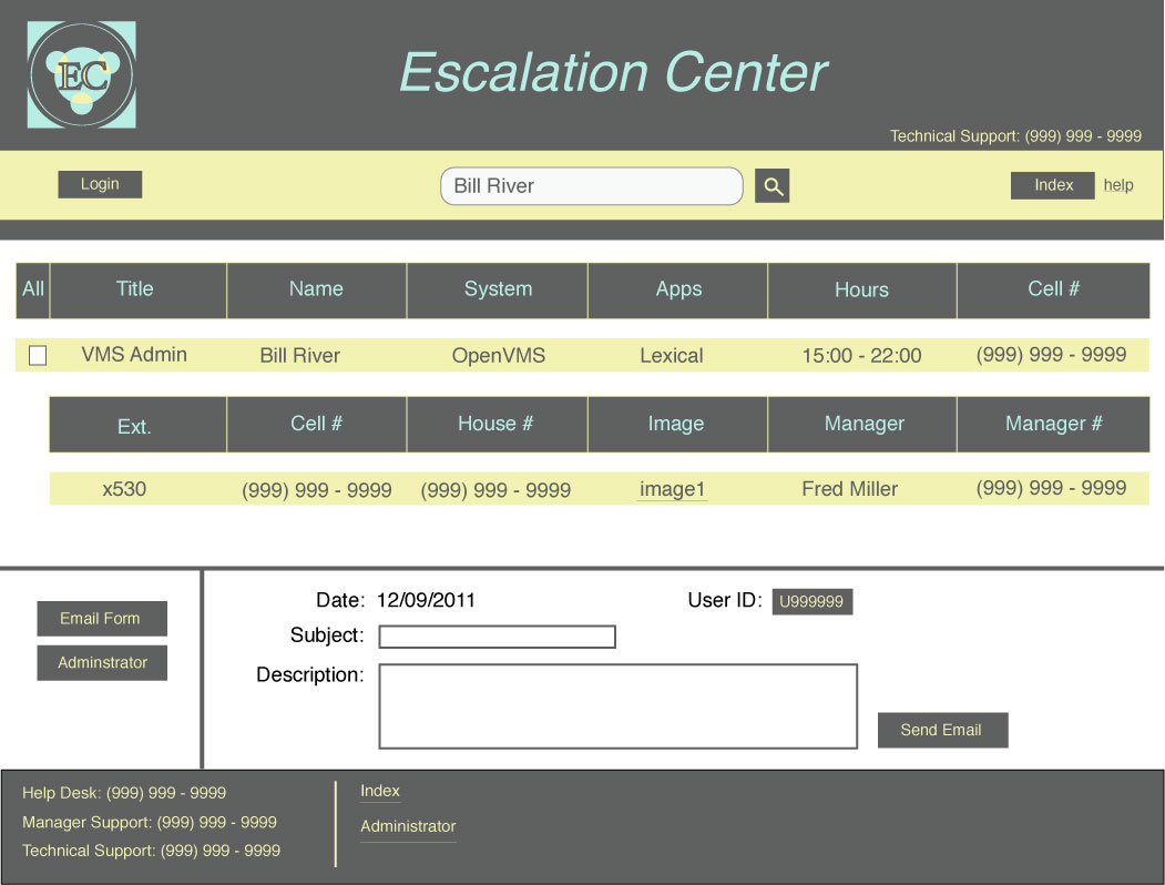 An image of a Template for Intranet Escalation Main Page design
