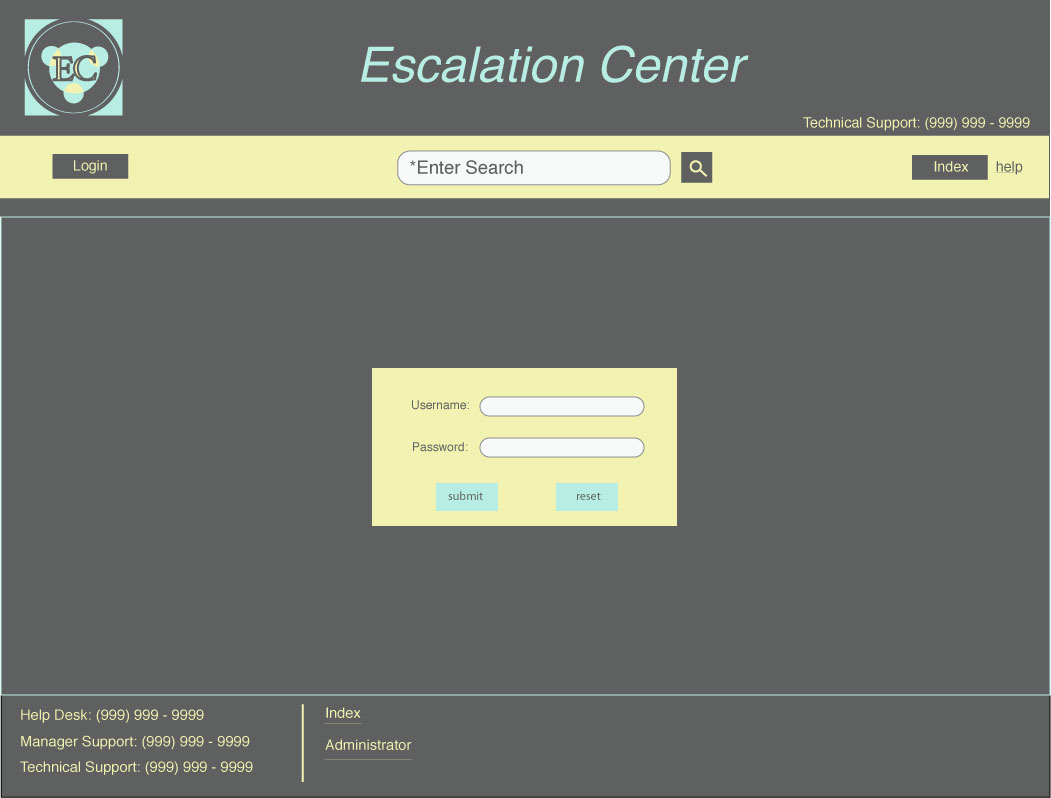 An image of a Template for Intranet Escalation Login Page design