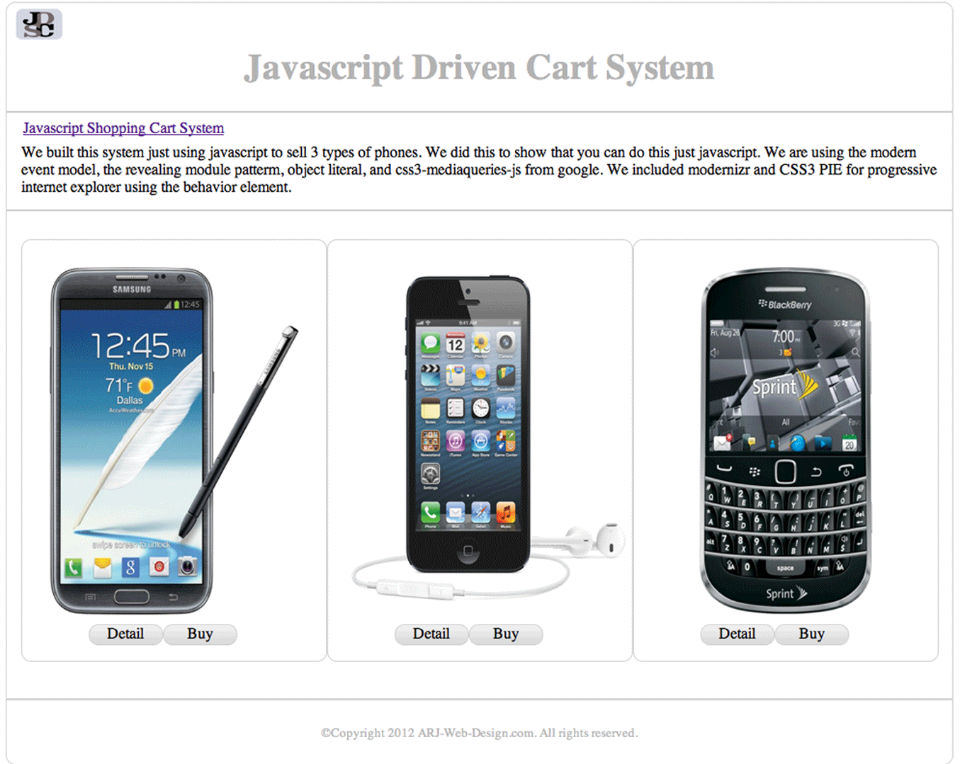 An image of a Template Javascript Cart Project image 1