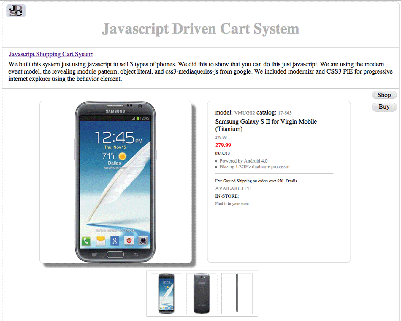 An image of a Template Javascript Cart Project image 2