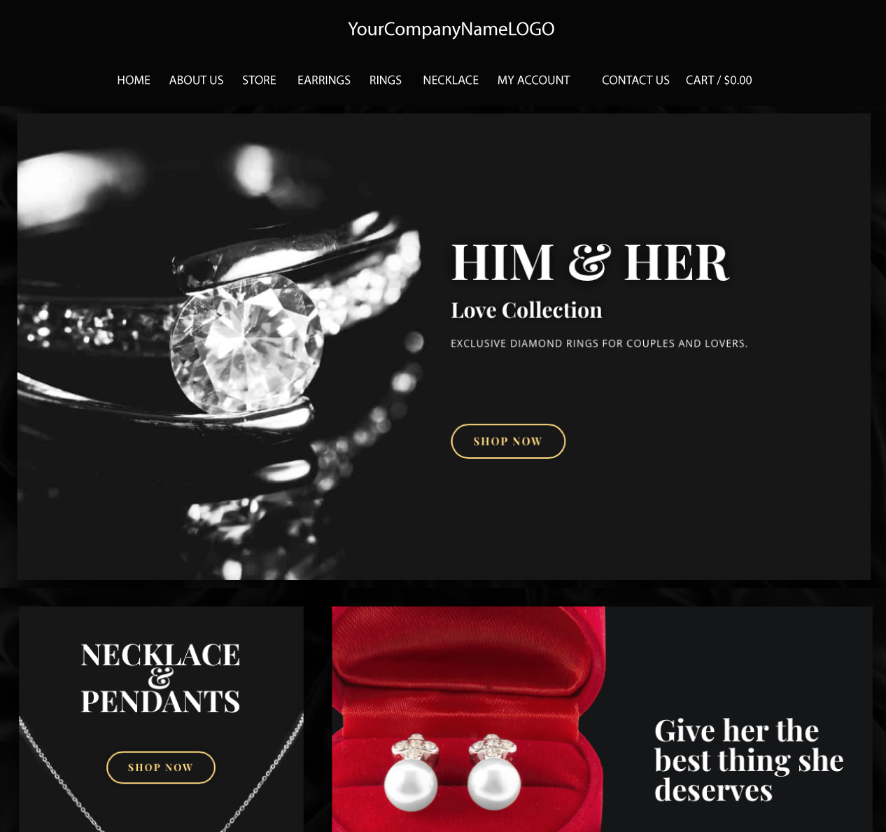 An image of a Him & Her Jewel new website designn