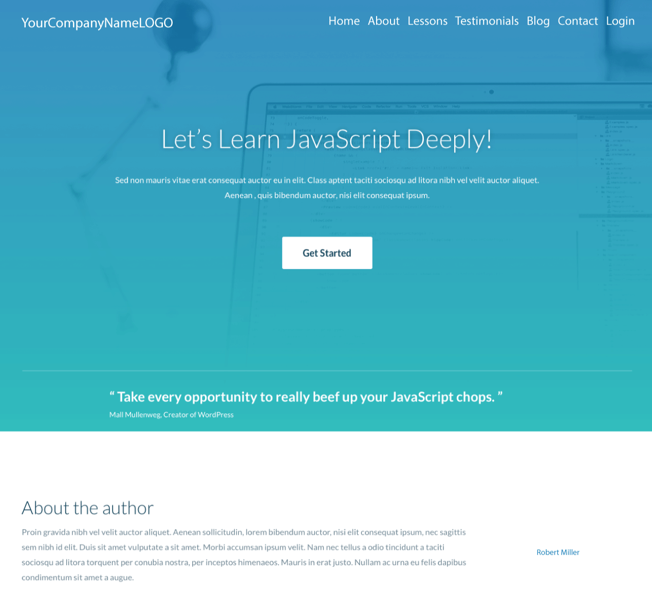An Image of a new Javascript Training website design