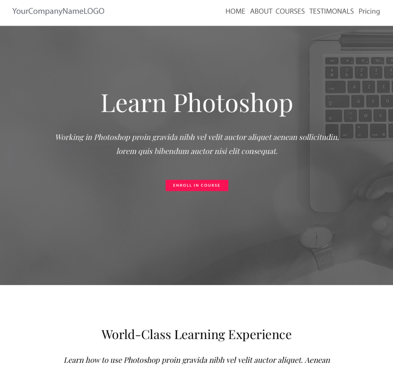 An Image of a new Learn Photoshop training website design