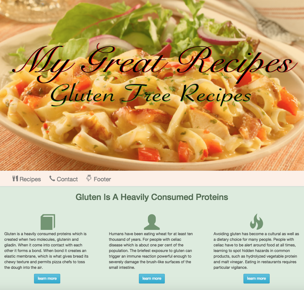 An image of a Template for Sari Gluten Free website design