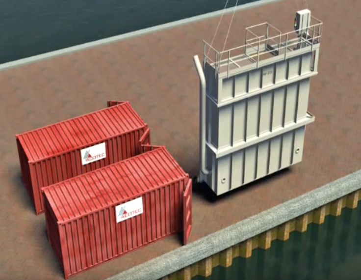 An image of two big containers with two pieces already unassembled.