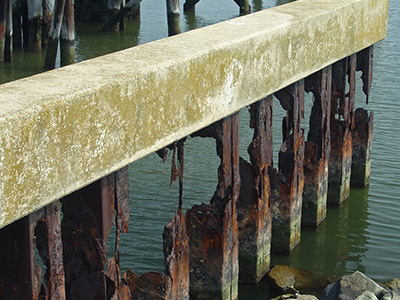 An image of a crumbling seawall