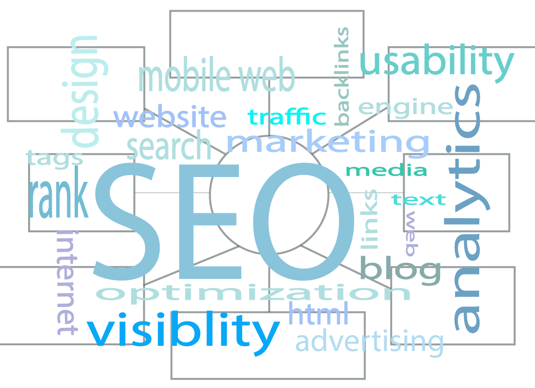 A center image of SEO icon banner