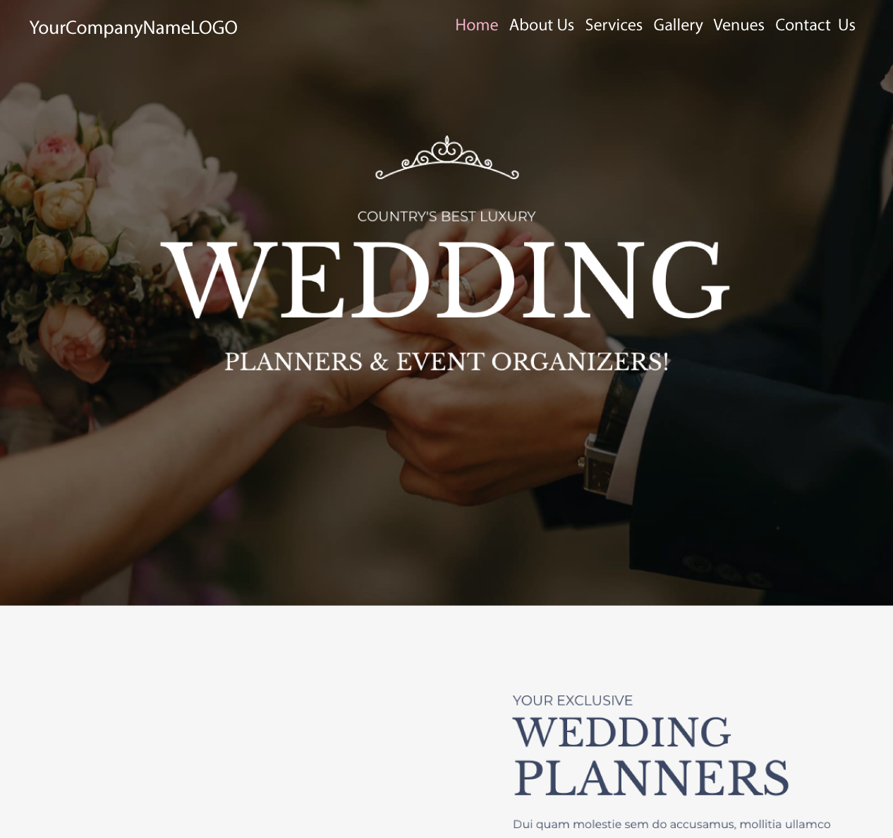 An Image of a Wedding Planing new website design
