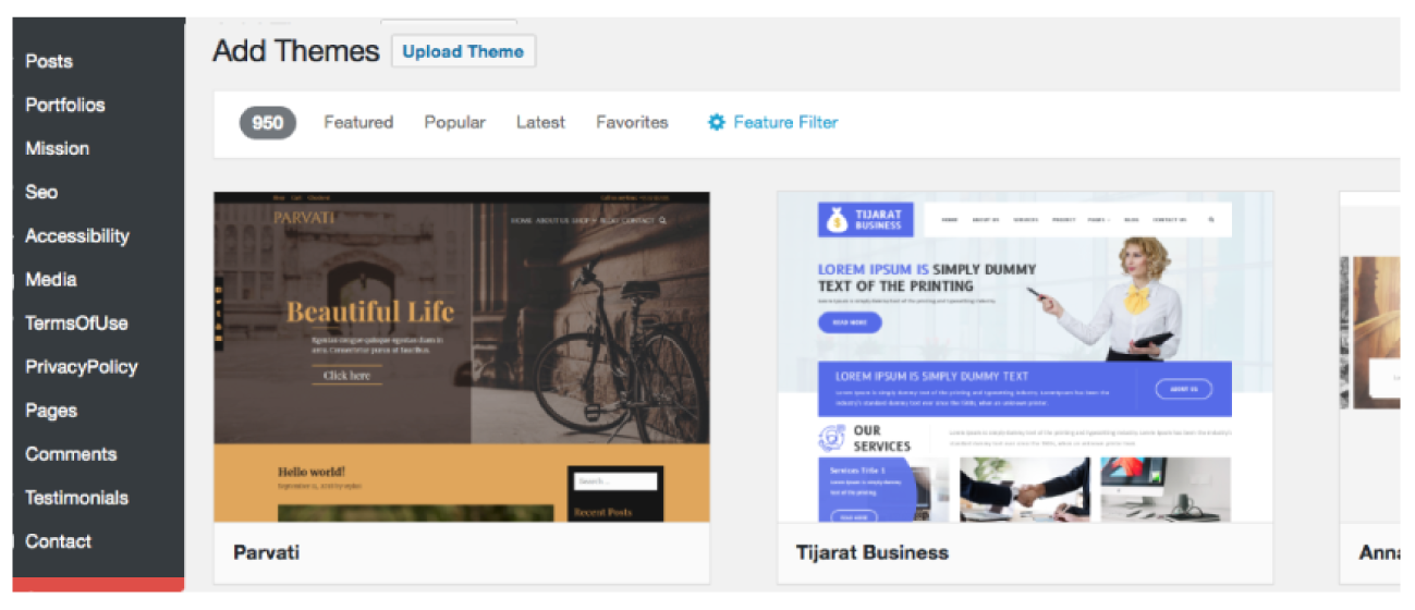 An image of WordPress Theme Upload